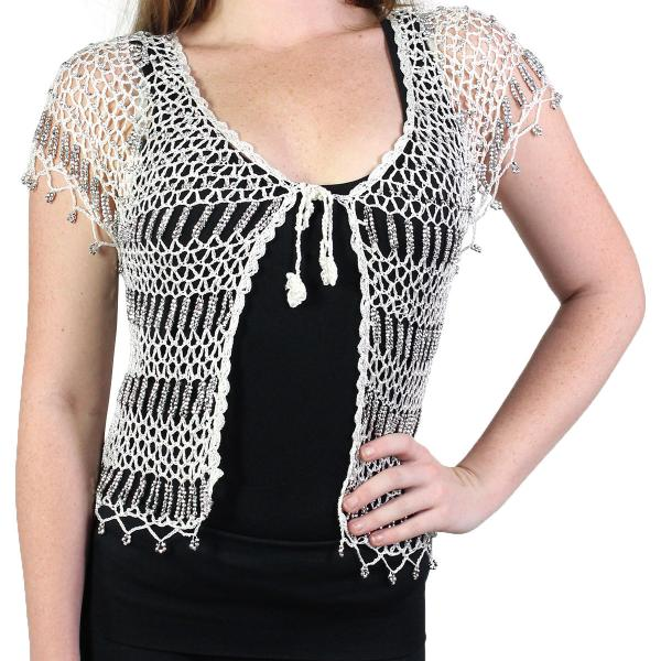 wholesale Shanghai Beaded Fishnet Vest #519 Off White w/ Silver Beads -