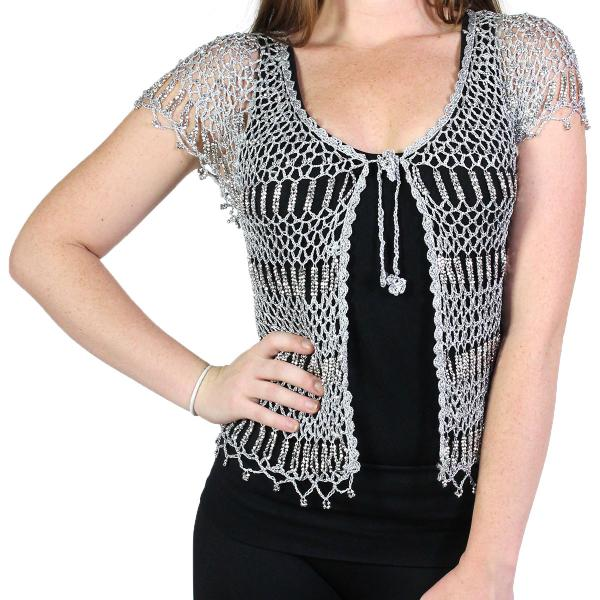 wholesale Shanghai Beaded Fishnet Vest #519 Silver w/ Silver Beads -