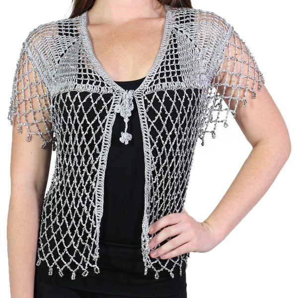 wholesale Shanghai Beaded Fishnet Vest #550 Silver w/ Silver Beads -