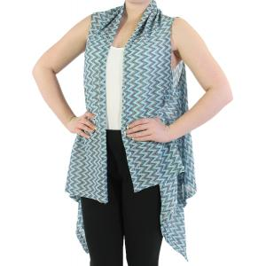 Vests - Light Knit Chevron 8977 Turquoise x -
