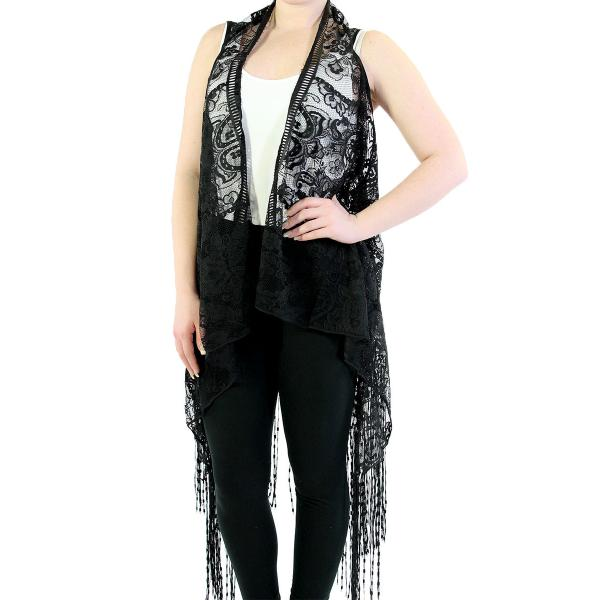 Vests - Lace w/ Fringe 1273 & 1274* 1273 Paisley - Black -