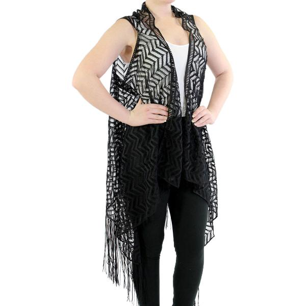 Vests - Lace w/ Fringe 1273 & 1274* 1274 Chevron - Black -