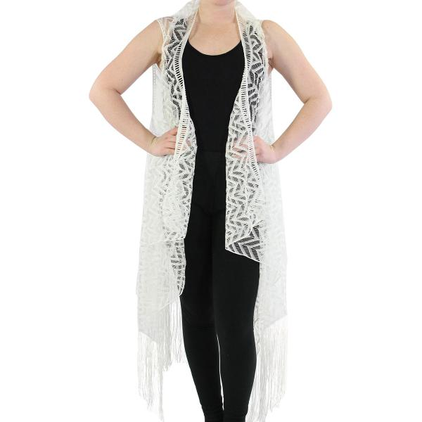 Vests - Lace w/ Fringe 1273 & 1274* 1274 Chevron - Ivory -