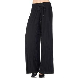 Pleated Wide Leg Pants - Georgette Ankle Length - Black w/ Drawstring - One Size Fits All