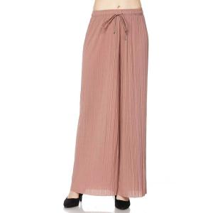 Pleated Wide Leg Pants - Georgette Ankle Length - Mauve w/ Drawstring - Plus Size (XL-2X)