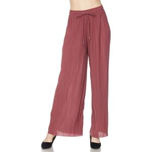 Pleated Wide Leg Pants - Georgette Ankle Length - Mulberry w/ Drawstring - Plus Size (XL-2X)