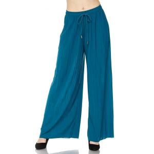 Pleated Wide Leg Pants - Georgette Ankle Length - Teal w/ Drawstring - Plus Size (XL-2X)