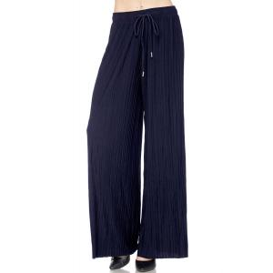 Pleated Wide Leg Pants - Georgette Ankle Length - Navy w/ Drawstring - Plus Size (XL-2X)