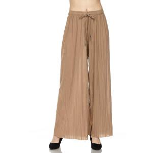 Pleated Wide Leg Pants - Georgette Ankle Length - Mocha w/ Drawstring - Plus Size (XL-2X)
