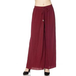 Pleated Wide Leg Pants - Georgette Ankle Length - Burgundy w/ Drawstring - Plus Size (XL-2X)