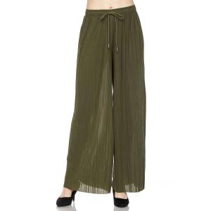 Pleated Wide Leg Pants - Georgette Ankle Length - Olive w/ Drawstring - One Size Fits All