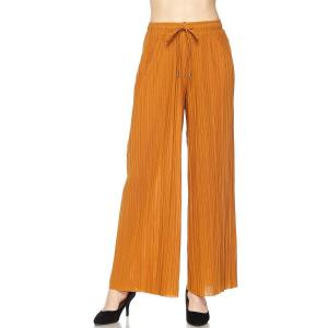 Pleated Wide Leg Pants - Georgette Ankle Length - Mustard w/ Drawstring - One Size Fits All