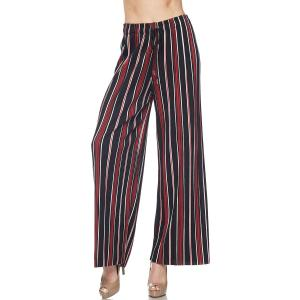 Pleated Wide Leg Pants - Georgette Ankle Length - #03 Black-Red Striped w/ Drawstring - One Size Fits All