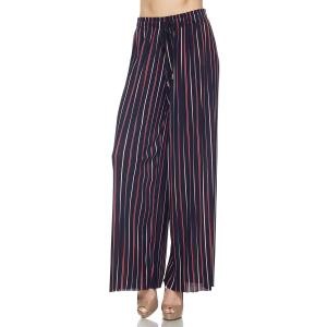 Pleated Wide Leg Pants - Georgette Ankle Length - #01 Navy-Red Striped w/ Drawstring - One Size Fits All