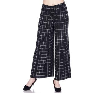 Pleated Wide Leg Pants - Georgette Ankle Length - #16 Grid Print Black-White w/ Drawstring - One Size Fits All