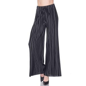 Pleated Wide Leg Pants - Georgette Ankle Length - #18 Striped Black-White w/ Drawstring - Plus Size (XL-2X)