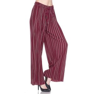 Pleated Wide Leg Pants - Georgette Ankle Length - #19 Striped Burgundy-White w/ Drawstring - One Size Fits All