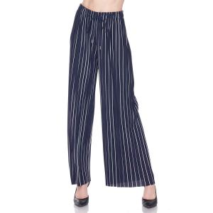 Pleated Wide Leg Pants - Georgette Ankle Length - #20 Striped Navy-White w/ Drawstring - One Size Fits All