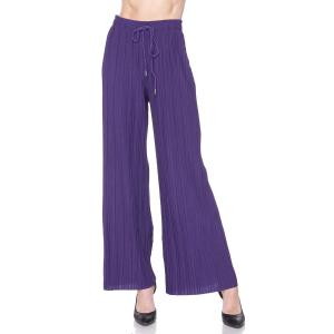 Pleated Wide Leg Pants - Georgette Ankle Length - Purple w/ Drawstring - One Size Fits All