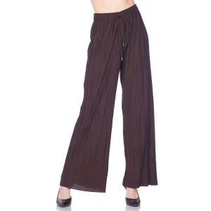 Pleated Wide Leg Pants - Georgette Ankle Length - Brown w/ Drawstring - Plus Size (XL-2X)