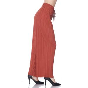 Pleated Wide Leg Pants - Georgette Ankle Length - Rust w/ Drawstring - Plus Size (XL-2X)