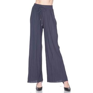 Pleated Wide Leg Pants - Georgette Ankle Length - Charcoal w/ Drawstring - Plus Size (XL-2X)