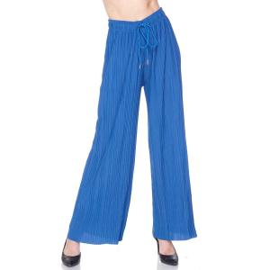 Pleated Wide Leg Pants - Georgette Ankle Length - Royal Blue w/ Drawstring - Plus Size (XL-2X)