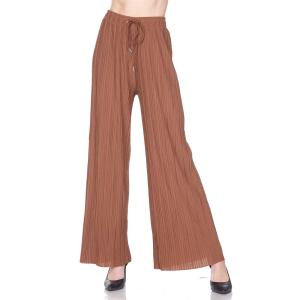 Pleated Wide Leg Pants - Georgette Ankle Length - Cognac w/ Drawstring - Plus Size (XL-2X)