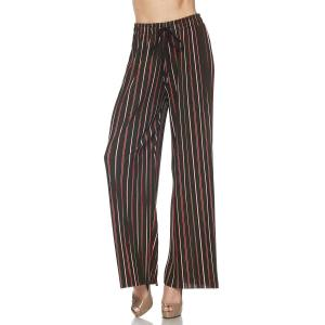 Pleated Wide Leg Pants - Georgette Ankle Length - #02 Olive-Red Striped w/ Drawstring - One Size Fits All