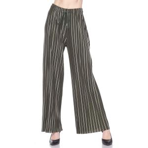 Pleated Wide Leg Pants - Georgette Ankle Length - #21 Olive-White Striped w/ Drawstring - One Size Fits All