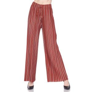Pleated Wide Leg Pants - Georgette Ankle Length - #22 Rust-White Striped w/ Drawstring - One Size Fits All