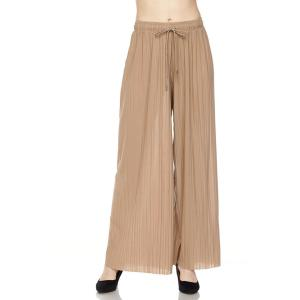 Pleated Wide Leg Pants - Georgette Ankle Length - Khaki w/ Drawstring - One Size Fits All