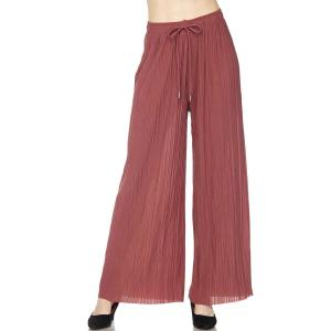 Pleated Wide Leg Pants - Georgette Ankle Length - Marsala w/ Drawstring - Plus Size (XL-2X)