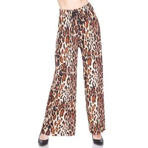 Pleated Wide Leg Pants - Georgette Ankle Length - #23 Leopard Print w/ Drawstring - Plus Size (XL-2X)