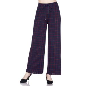 Pleated Wide Leg Pants - Georgette Ankle Length - #17 Navy-Red Grid w/ Drawstring - One Size Fits All