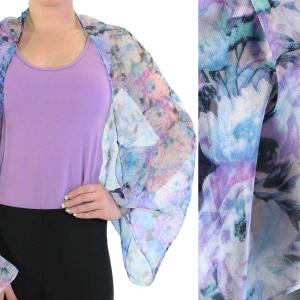 wholesale Silky Button Shrug (Chiffon) #120-04 (Floral Splatter) MB -