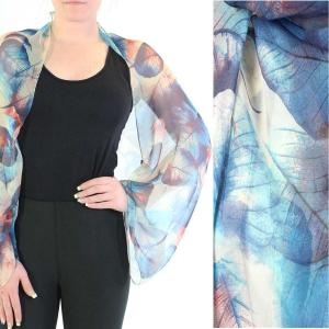 wholesale Silky Button Shrug (Chiffon) #129 Blue (Leaves) -
