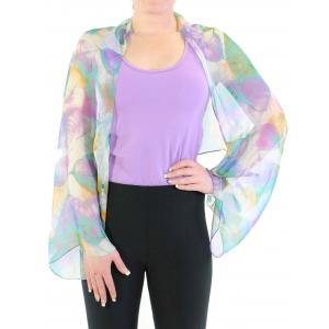 wholesale Silky Button Shrug (Chiffon) #129 Teal (Leaves) MB -