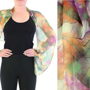 wholesale Silky Button Shrug (Chiffon) #129 Green (Leaves) -