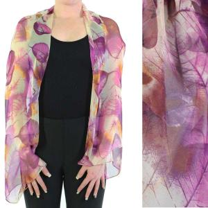 wholesale Silky Button Shrug (Chiffon) #129 Purple (Leaves) MB -
