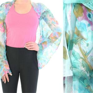 wholesale Silky Button Shrug (Chiffon) #703 Teal (Flower) MB -