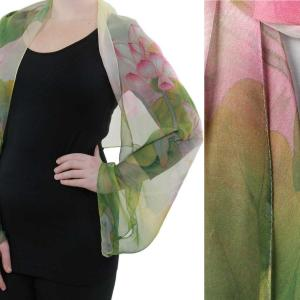 wholesale Silky Button Shrug (Chiffon) #130 Pink-Green (Lotus) -