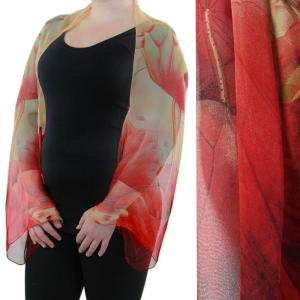 wholesale Silky Button Shrug (Chiffon) #130 Red-Gold (Lotus) -