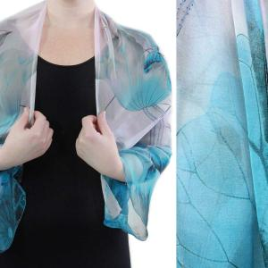 wholesale Silky Button Shrug (Chiffon) #130 Teal-Pink (Lotus) -