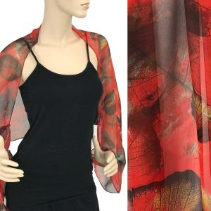 wholesale Silky Button Shrug (Chiffon) #129 Red (Leaves) -