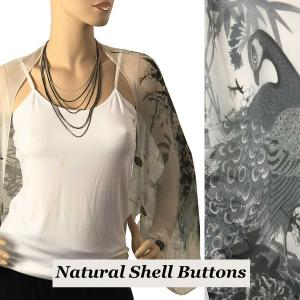 wholesale Silky Button Shrug (Chiffon) Natural Shell Buttons #115 White-Black (Peacock) -