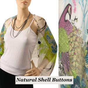 wholesale Silky Button Shrug (Chiffon) Natural Shell Buttons #115 White-Multi (Peacock) -