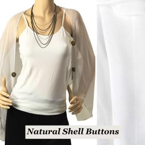 wholesale Silky Button Shrug (Chiffon) Natural Shell Buttons Solid White -