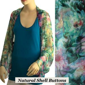 wholesale Silky Button Shrug (Chiffon) Natural Shell Buttons #120-01 (Floral Splatter) -