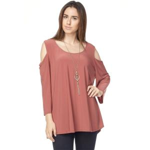 Tunics - 3/4 Sleeve Cold Shoulder & Necklace 1637I Marsala - 3X